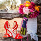 Wedding day shoes and boquet