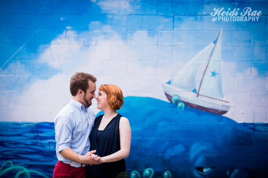 Colorful Austin Engagement Session Blue Wall