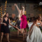 Wedding guest jumping on dance floor