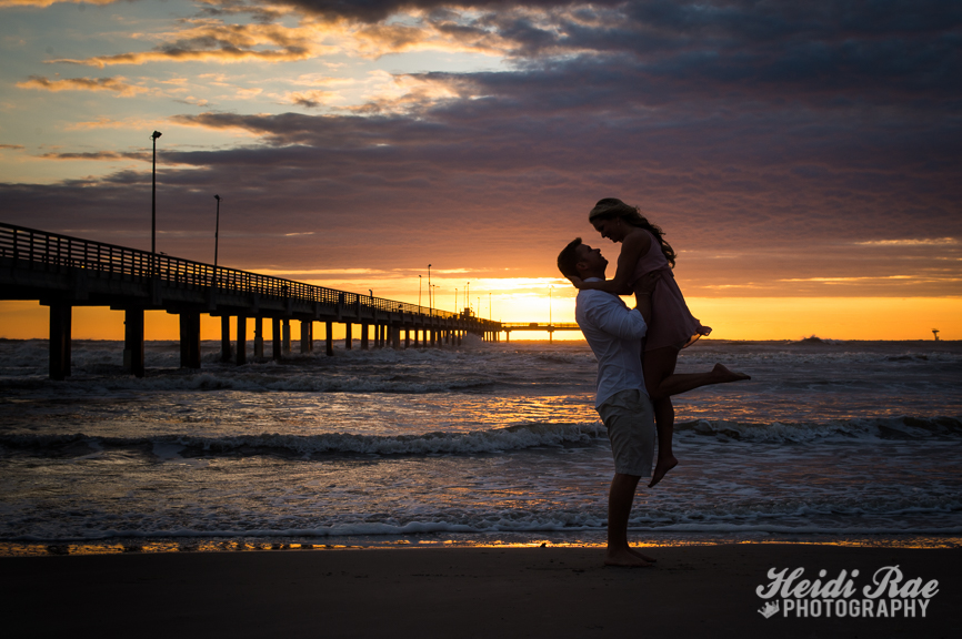 Couple at Sunrise at Bob Hall pier