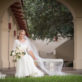 Bride on a bench outdoors
