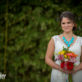 Bride with Bouquet and Turquoise Necklace Outdoors