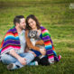 Engaged Couple outdoors with Mexican blanket and their dog