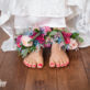 Brides feet with Flower Anklets