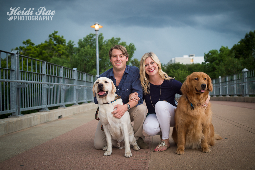Engagement Photo with dogs on bridge in Austin